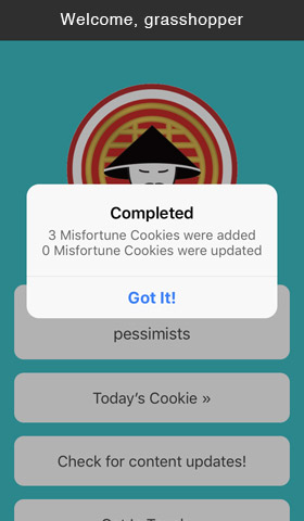 App Share the daily cookie message screen